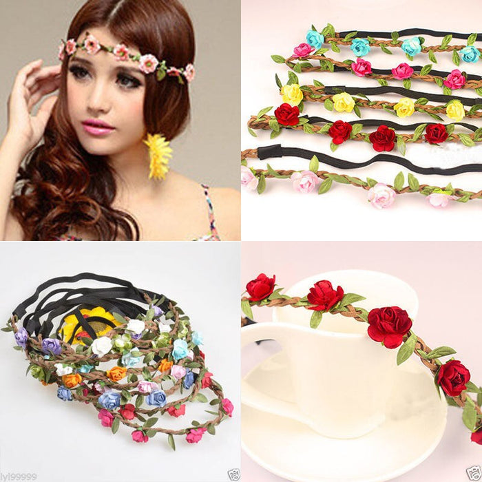 Brand New Fabric Festival Wedding Party Garland Forehead Hair Women Flower Head Band