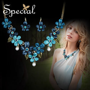 Bridal Jewelry Blue crystal pearl leaves 2 pieces earrings + necklace bride big flowers jewelry sets lovers best gift wedding