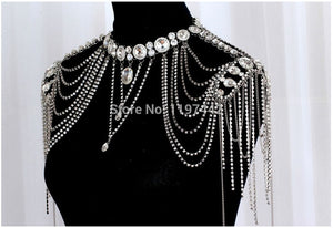 Bridal Shoulder Chains Silver Crystal Big Necklaces Bridal Chain Vintage Wedding Accessories Necklace Shoulder Strap