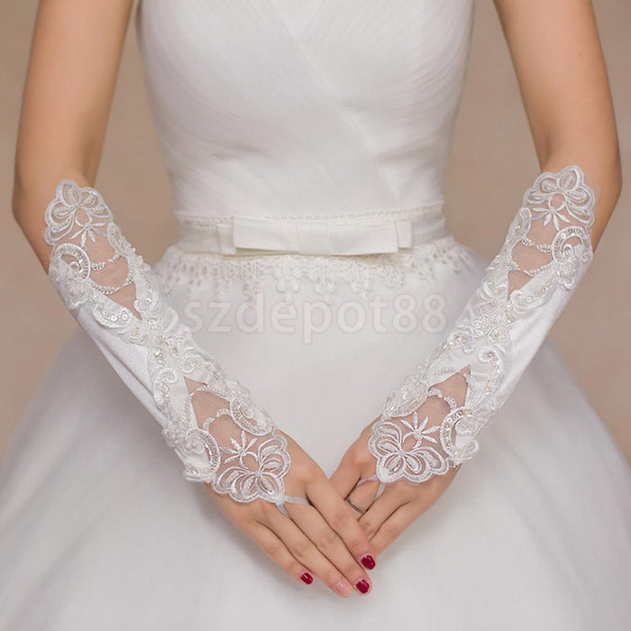 Bride Flower Lace Satin Pearl Gloves Fingerless Elbow Length Gloves Prom Costume Accessories White