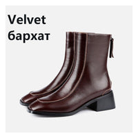 Women Genuine Leather Back Zipper Boots 2020