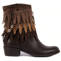 2020 Brown Genuine Leather Women's Tassels Boots
