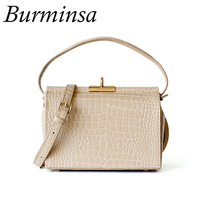 Burminsa Crocodile Box Genuine Leather Bags For Women Small Unique Design Shoulder Messenger Bags Rectangle Handbags Summer 2019