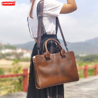 Business Women female Personality retro laptop handbags crazy horse