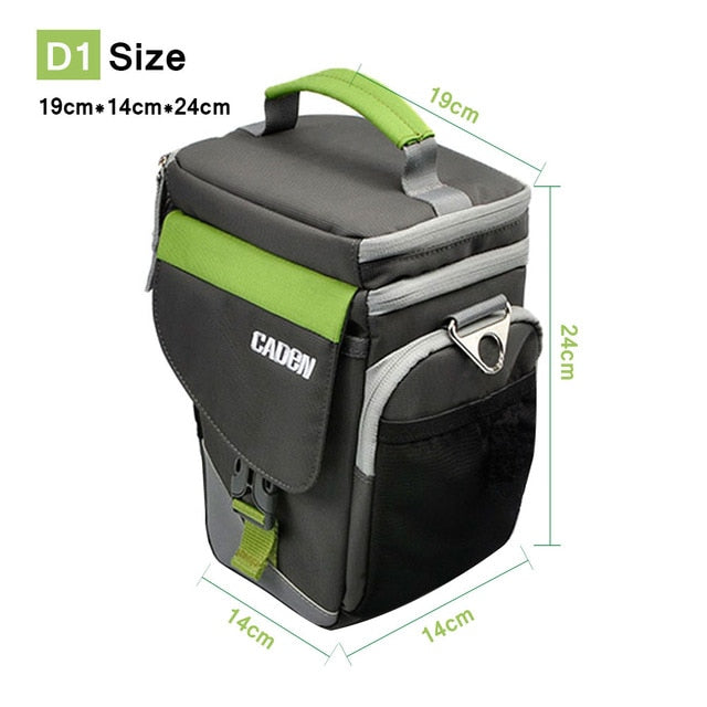 CADeN D1 Camera Shoulder Bags Photo Video Carry Case Black Green Digital Soft Sling Bag with Rain Cover For DSLR Canon Nikon