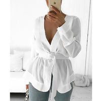 CALOFE Women  2019 Women With Belt Tunic Shirt Blouse Long Sleeve Peplum Casual Top OL Workwear Mujer Blusas White Shirts