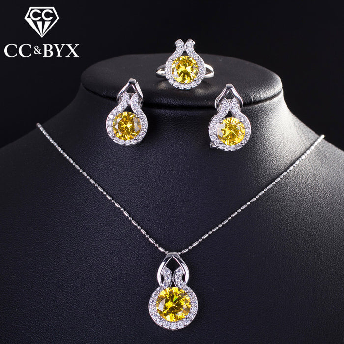 CC 3 Pieces Set For Women Ring & Clip Earrings & Pendant Necklace Jewelry Sets Bridal Wedding Engagement Gift Bijoux CCAS176a