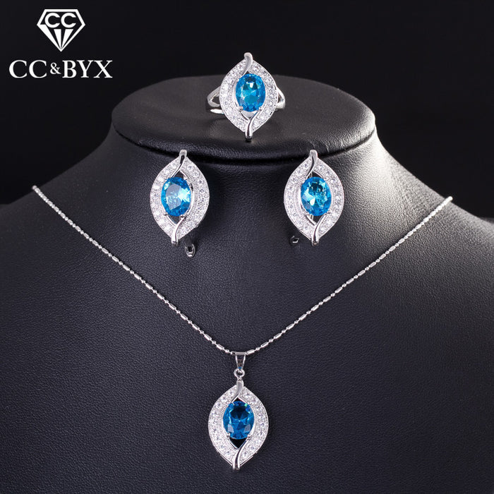 CC Bridal Jewelry Sets For Women 3 Pieces Wedding Sea Blue Pendant Necklace & Ring & Clip Earrings Engagement Set CCAS175c