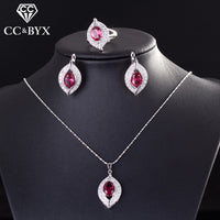 CC Bridal Sets For Women 3 Pieces Pendant Necklace & Ring & Clip Earrings Romantic Wedding Engagement Set Jewelry CCAS175b