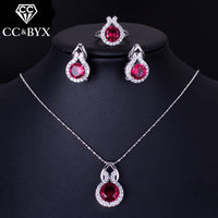 CC Bridal Wedding 3 Pieces Set For Women Ring & Clip Earrings & Pendant Necklace Jewelry Sets Engagement Bijoux Femme CCAS176c