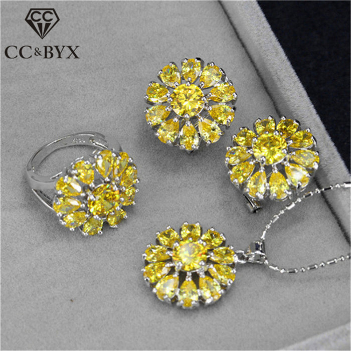CC Charms Sets For Women 3 Pieces Ring Pendants Necklace Stud Earrings Cubic Zirconia Bridal Wedding Set CCAS185b