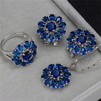 CC Trendy Jewelry Sets For Women 3 Pieces Set Bride Ring Stud Earrings Pendants Necklace Wedding Bijouterie Accessories CCAS185d