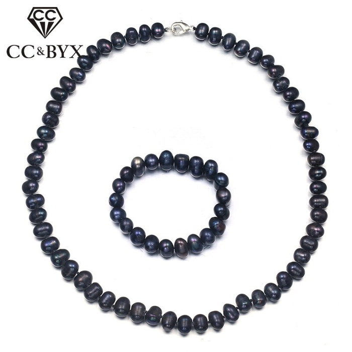 CC Vintage Jewelry Sets For Women 2 Pieces Freshwater Pearls Necklace & Bracelet Bijoux Femme Party Gift Accessories CCAS168