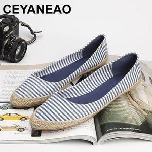 CEYANEAONew Luxury Womens Flats Shoes Blue Stripe PointedToe Woman Casual Loafer Shoes Lady Shallow Breathable Canvas ShoesE2064