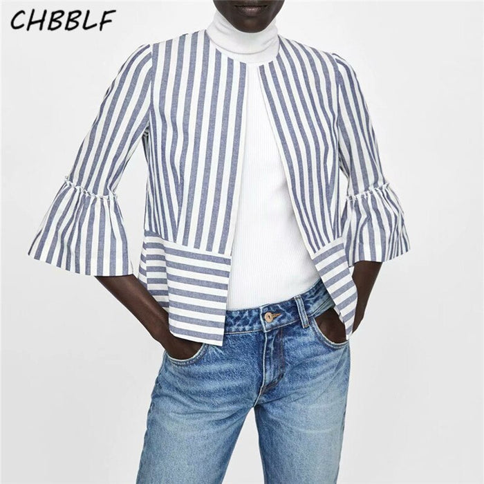 CHBBLF women vintage striped bomber jacket three quarter sleeve coat ladies casual chaqueta XDN8508