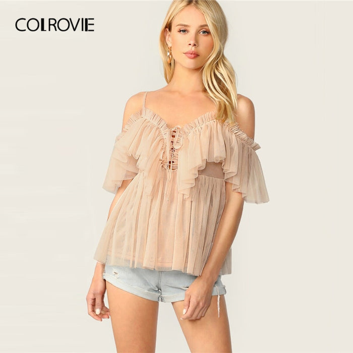 COLROVIE Apricot Ruffle Trim Tie Front Pleated Cami Mesh Womens Tops And Blouses 2019 Summer Romantic Short Sleeve Ladies Tops