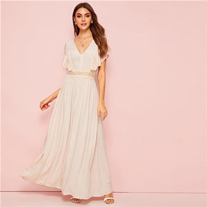 Apricot V Neck Ruffle Lace Insert Party Flare Maxi Dress Women Summer Sleeveless