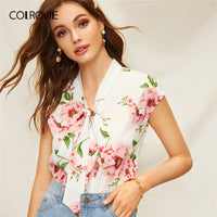 COLROVIE Beige Floral Print Tie Neck Boho Blouse Shirt Women Clothes