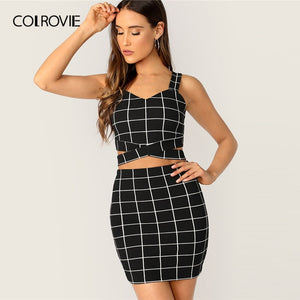 COLROVIE Black Criss Cross Waist Grid Tank Top With Skirt 2 Piece Set Women