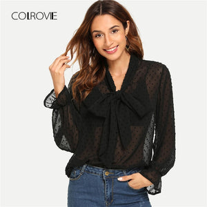 Black Elegant Sheer Tie Neck Polka Dot Blouse Shirt Women