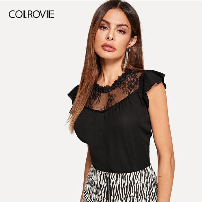 COLROVIE Black Keyhole Back Lace Yoke Blouse Womens Tops And Blouses 2019 Elegant Summer Flounce Sleeve Solid Office Ladies Top