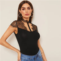 COLROVIE Black Lace Insert Cut-Out Detail Slim Fitted Tee Women Clothes 2019