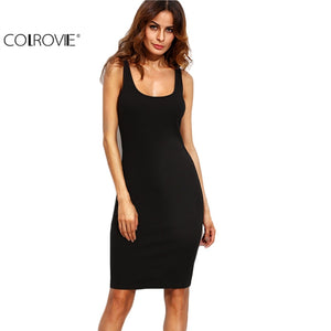 COLROVIE Black Ladies Summer Style Fitness Women Sexy Bodycon Knee Length Dresses Casual New Sleeveless Dress