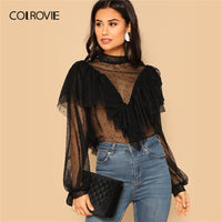 COLROVIE Neck Dobby Mesh Ruffle Womens Tops And Blouses Summer Sexy Bishop