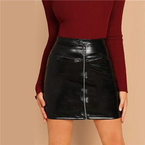 leather Skirt Spring Fashion Pencil Office Lady Skirts For Women Club Mini Skirt