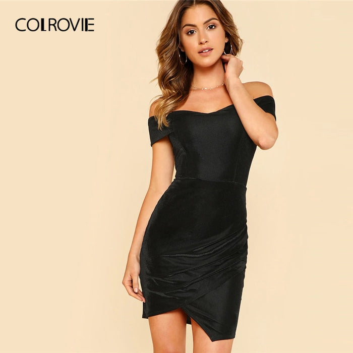 COLROVIE Black Off The Shoulder Ruched Wrap Dress Women 2019 Sexy Summer Sleeveless Clothing Female Glamorous Bodycon Slim Dress