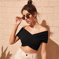 COLROVIE Black Off the Shoulder Bardot Crossover Sexy Crop Top Women T Shirt