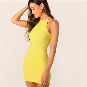 COLROVIE Black Sexy Sleeveless Mock Neck Yellow Halter Summer Dress 2018 Orange Slim Casual Women Basic Bodycon Mini Dresses