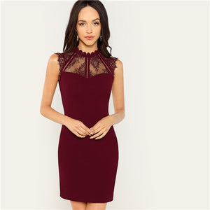 COLROVIE Black Sheer Eyelash Yoke Lace Party Dress Women Burgundy Christmas