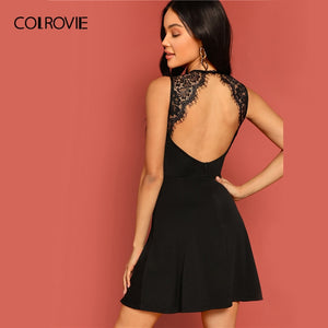 COLROVIE Black Solid Backless Skater Sexy Lace Dress Women Clothes