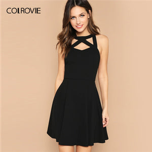 COLROVIE Black Solid Cage Neck Open Back Fit And Flare Party Sexy Dress Women 2019 Summer Sleeveless Zipper Elegant Mini Dresses