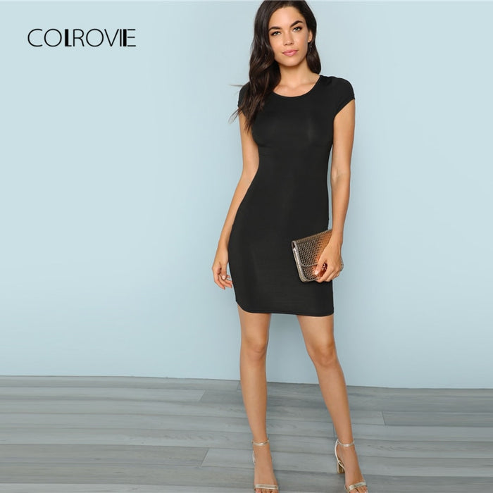 COLROVIE Black Solid Cap Sleeve Sexy Dress Women 2018 Autumn Stretchy Slim Party Dress Girl Elegant Bodycon Evening Mini Dress