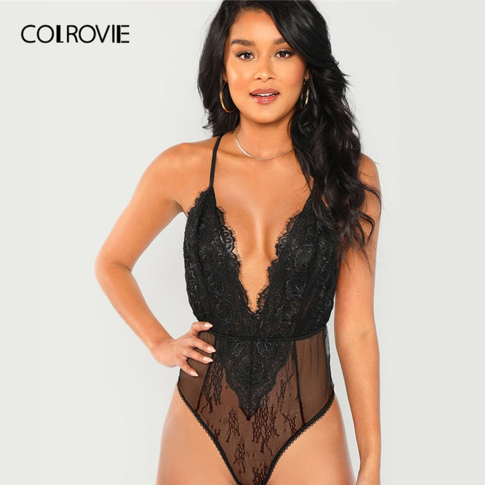 COLROVIE Black Solid Sheer Cami Skinny Lace Sexy Bodysuit Women 2019 Fashion Sleeveless Ladies Bodysuits One-Piece Club Bodysuit