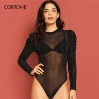 COLROVIE Black Solid Sheer Puff Sleeve Glitter Skinny Sexy Party Bodysuit