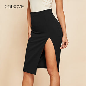 COLROVIE Black Solid Split Sexy Skirt Autumn Streetwear Fashion High Waist Casual
