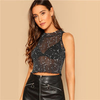 COLROVIE Black Stand Collar Lettuce Trim Star Print Sheer Sexy Crop Top Women Shirts