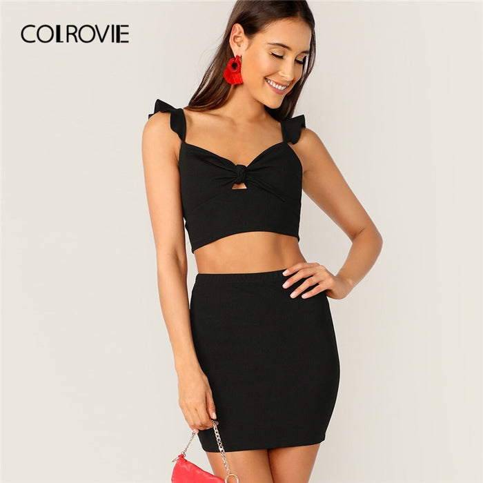 COLROVIE Black Tie  Ruffle Straps Backless Crop Top And Skirt Women Sexy Two Piece Set