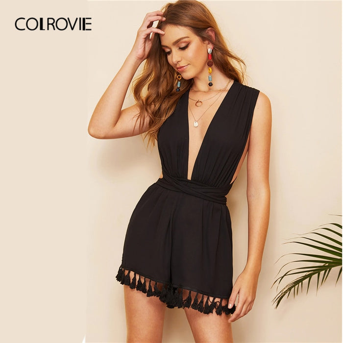 COLROVIE Black V Neck Criss Cross Backless Tassel Boho Romper Women Short Jumpsuit 2019 Summer Holiday High Waist Playsuit