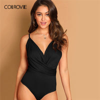 COLROVIE Black V Neck Criss Cross Wrap Cami Skinny Sexy Bodysuit Women Summer