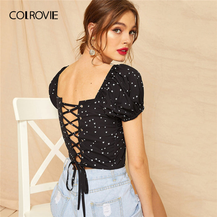COLROVIE Black V Neck Lace Up Back Star Wrap Slim Fit Women Sexy Blouse Shirt
