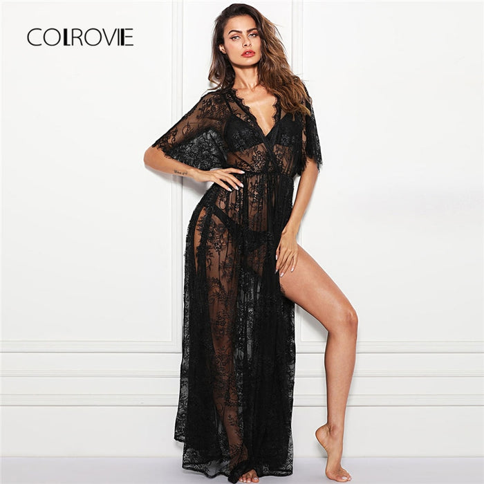 COLROVIE Black V Neck Surplice Wrap Sheer Eyelash Lace Night Dress without Lingerie