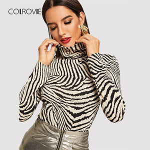 COLROVIE Black and White Animal Print Turtleneck Elegant Winter T-Shirt