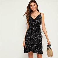 COLROVIE Black and White Polka Dot Print Cami Boho Dress Women 2019