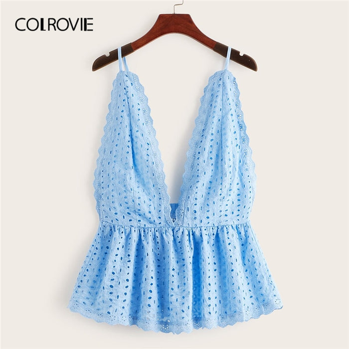 COLROVIE Blue Eyelet Embroidery Deep V Neck Peplum Cami Top Women Clothes 2019 Summer Korean Backless Tee Shirts Holiday Vest