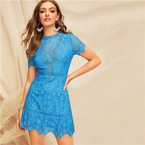 COLROVIE Blue Solid Open Back Guipure Lace Boho Sexy Dress Women Summer
