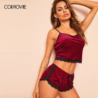 COLROVIE Burgundy Lace Trim Velvet Cami And Lace Shorts Women Sleeveless Sexy Pajama Set 2019 Summer Sleepwear Sexy Nightgown